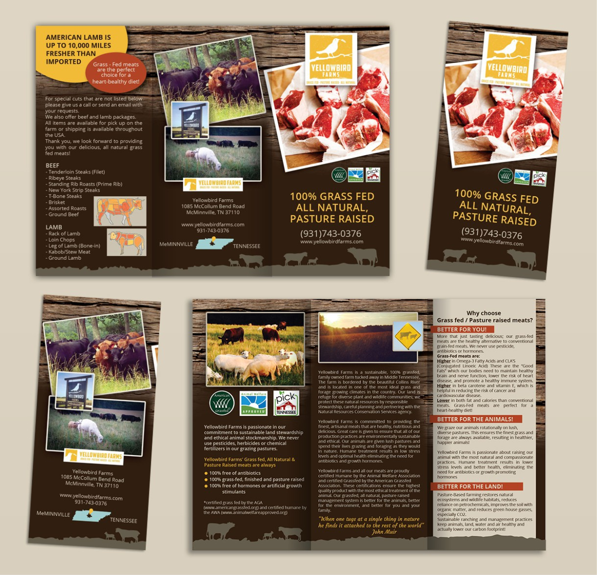Create a brochure for Yellowbird Farms grass fed beef & lamb