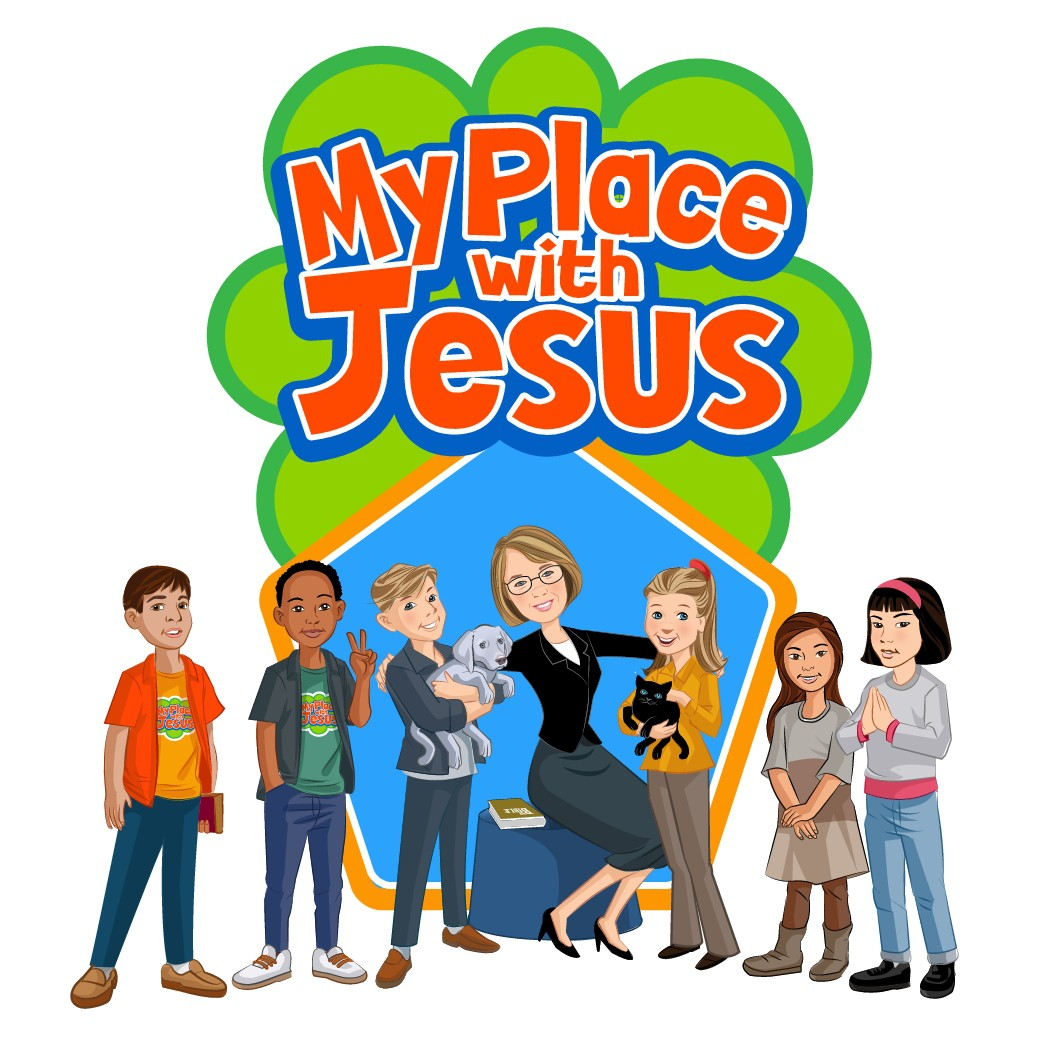 Logo and several characters for My Place With Jesus kids' ministry
