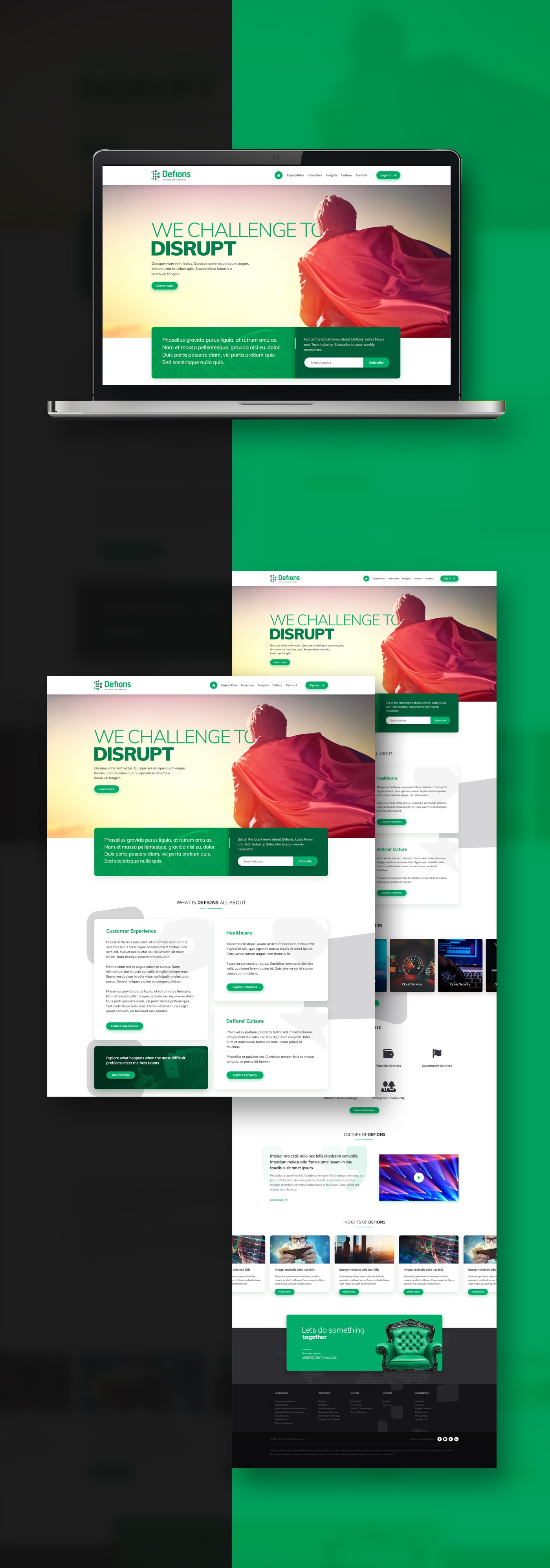 Brand-aligned Home page landing concept design and Powerpoint Template