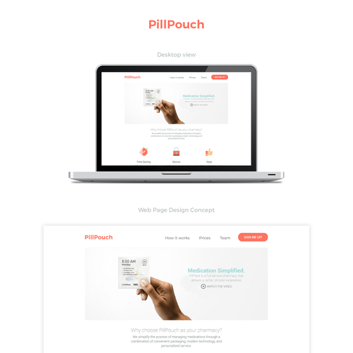 PillPouch website design concept.