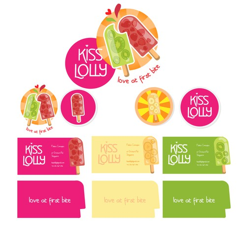 Create a fun and lively logo design for Kiss Lolly