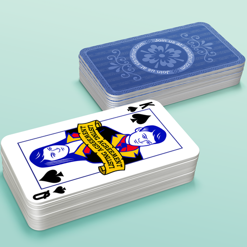 Create a business card that looks like a king/queen of spades for mysterious group