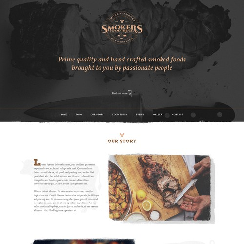 Website concept for Smoker's Food Truck