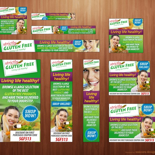 Design web ads for Strictly Gluten Free