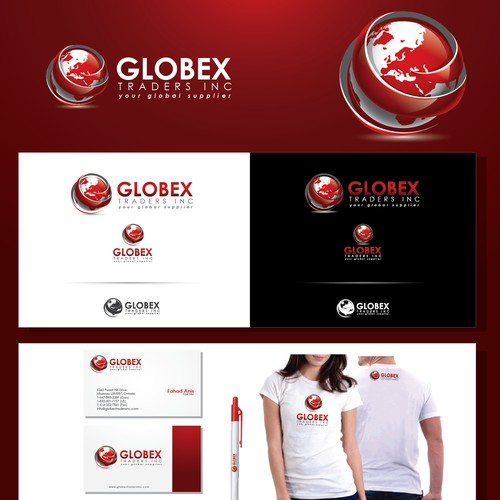Create the next logo and business card for GLOBEX TRADERS INC