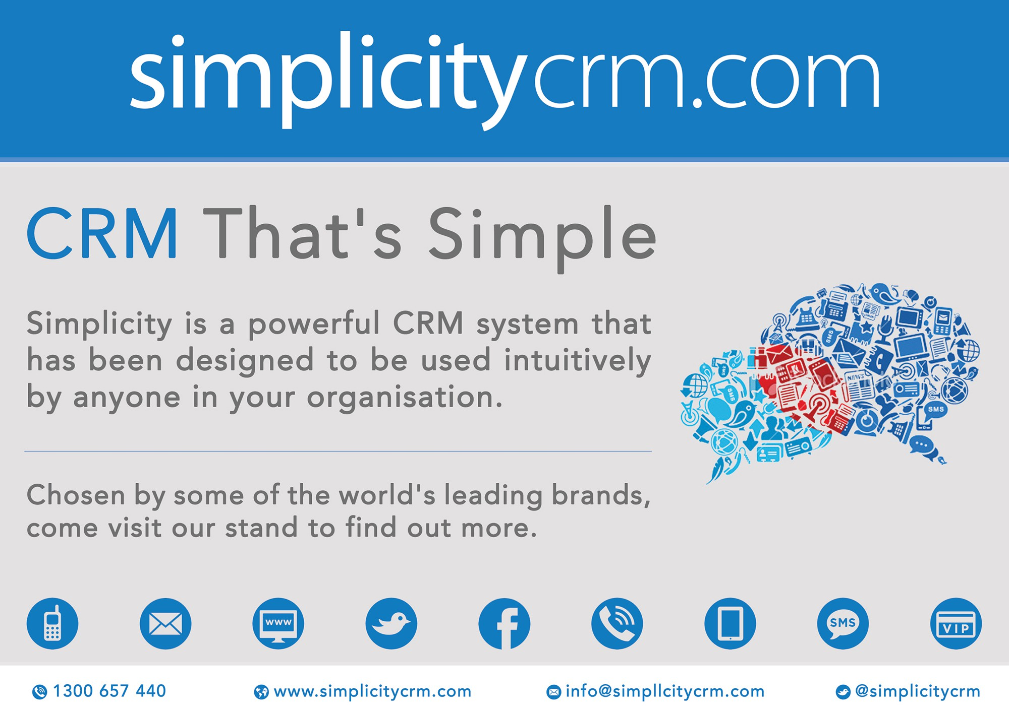 business or advertising for Simplicity CRM