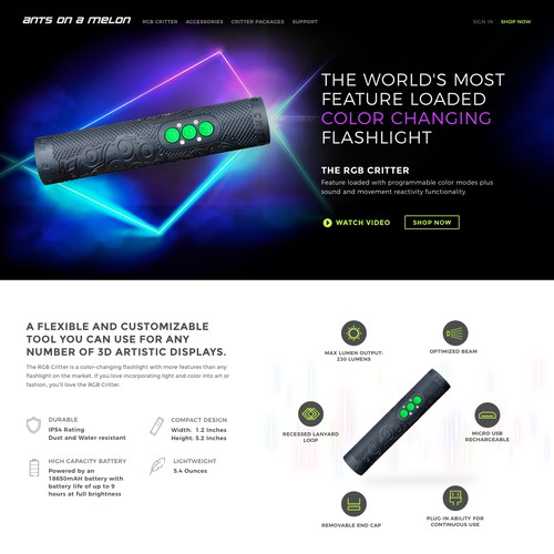 Homepage for a colour changing flashlight