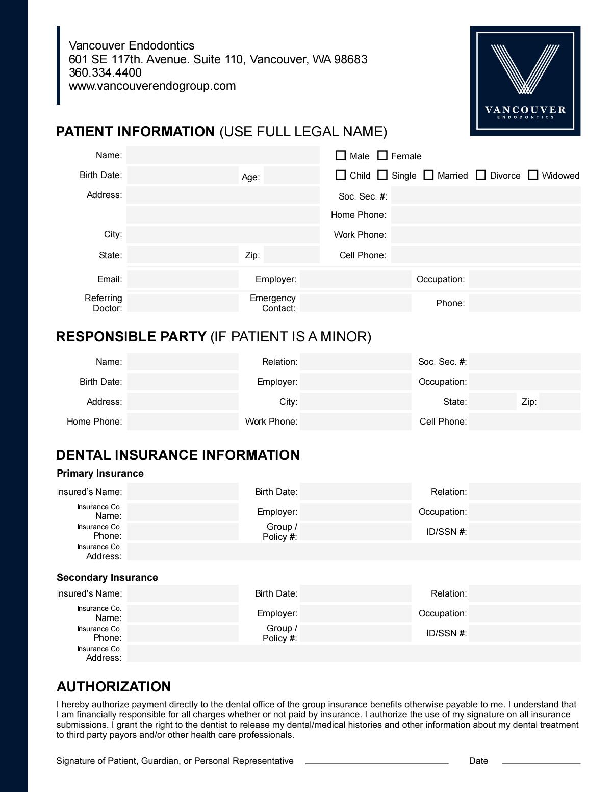 Redesign Form Vancouver Endodontics