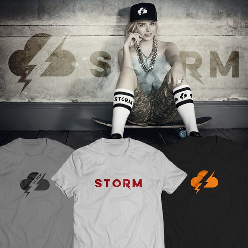 Create a cloud with lightning coming out of it logo for Storm