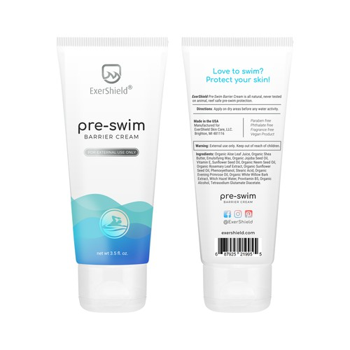 Tube label design for a body cream protection.