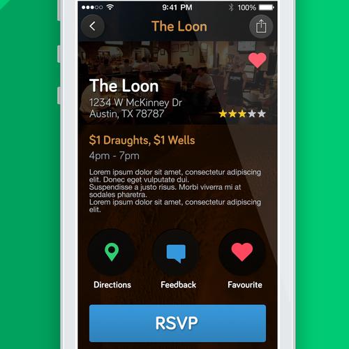 Secret Happy Hour iOS / Android UI