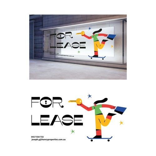 **Stylish** design for 'FOR LEASE' shop window decal