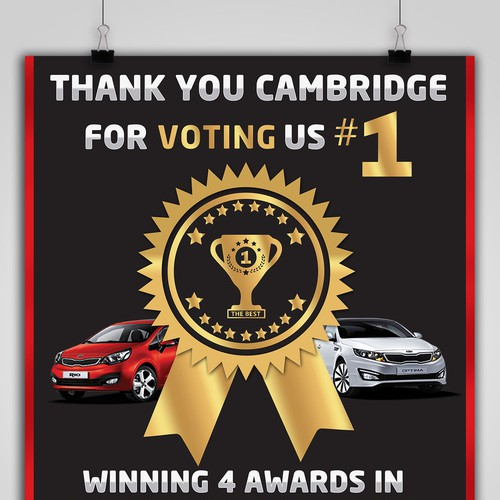Sign that shows Cambridge Kia was voted #1 in several categories