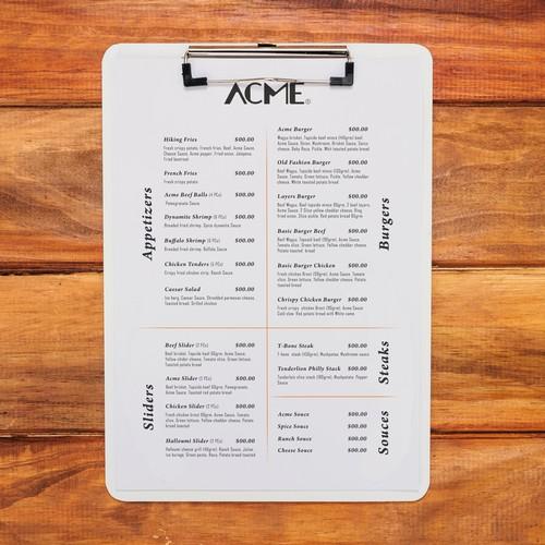 Acme's Restaurant Menu
