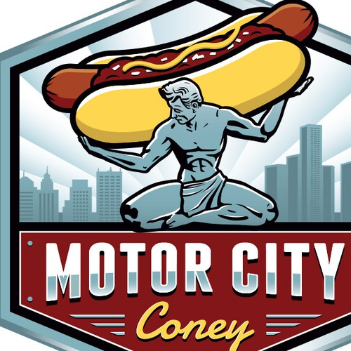 Logo for street food vendor and restaurant selling Detroit style coney dogs