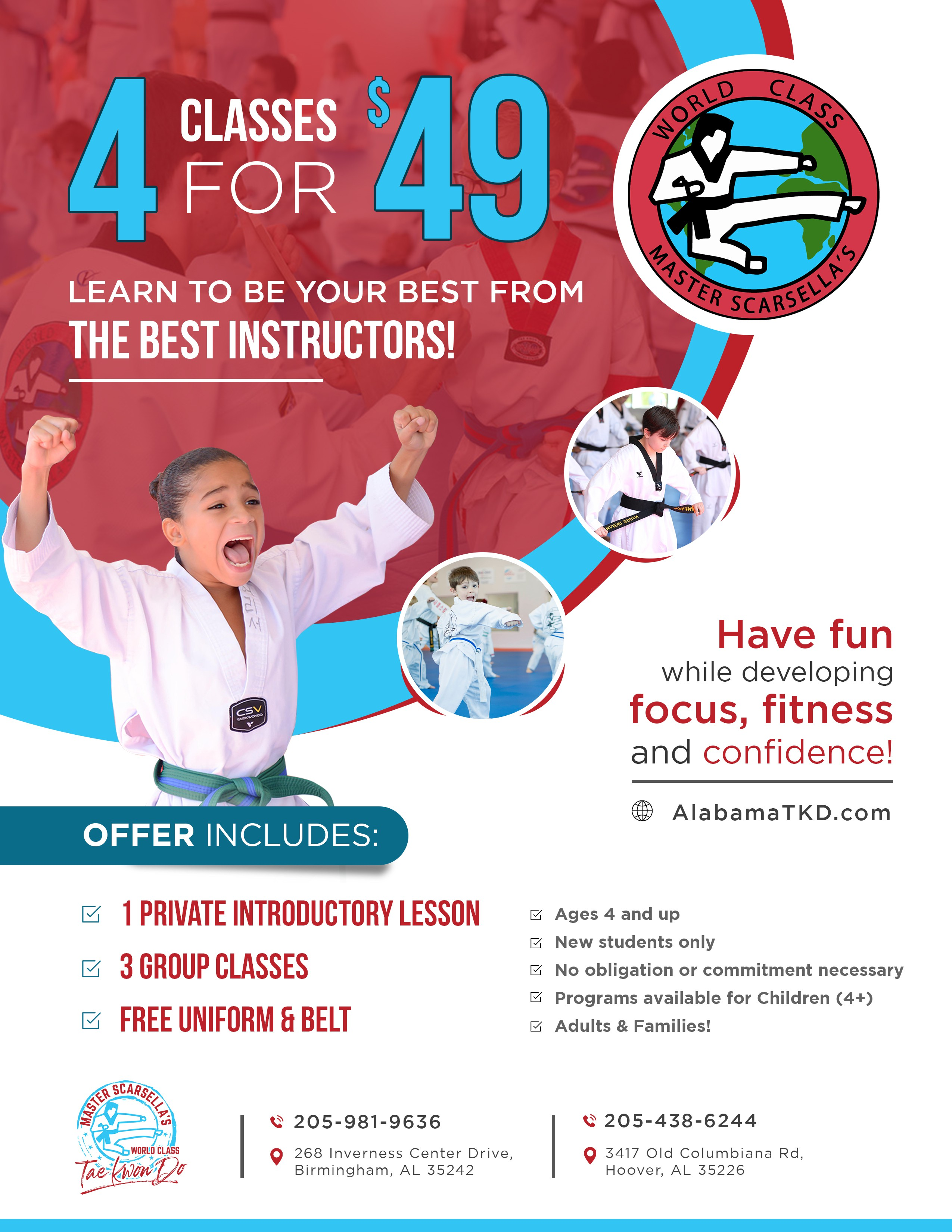 Tae Kwon Do School Promotional Flyer geared toward kids and families.