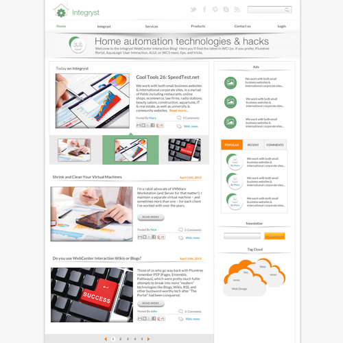 Web page design for Integryst