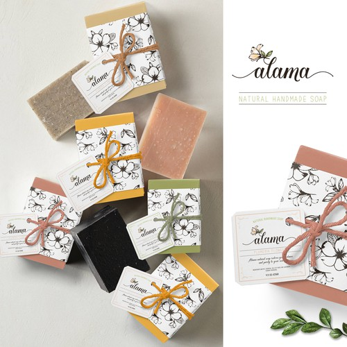 Flowers theme logo and packaging soap design