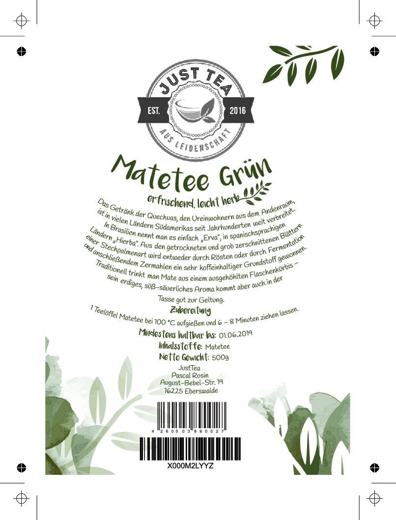 Erstellen von einem Produktetikett für Mate-Tee im Standbeutel