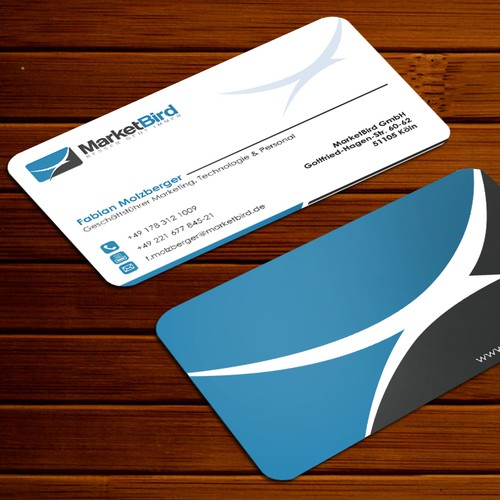 Design a professional and exclusive looking business card for MarketBird