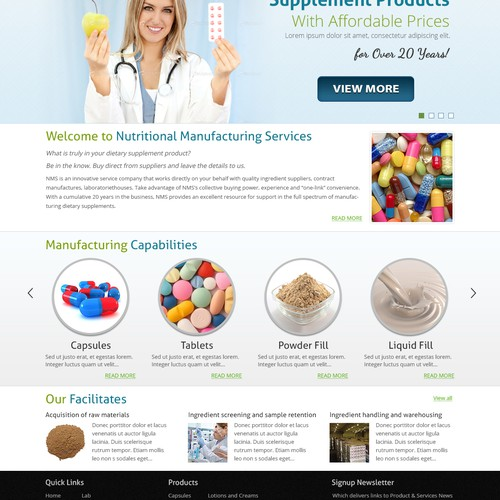 New website design wanted for Nutritional Manufacturing Services, LLC