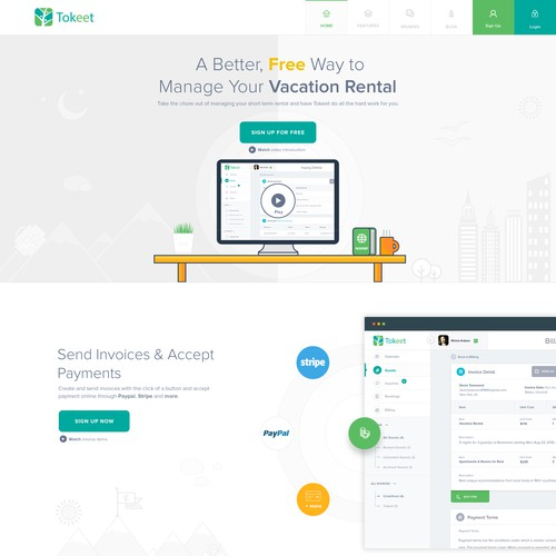 Tokeet - Vacation Rental Management (landing page)