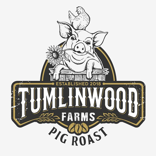 "Hand crafted logo for my ""Pig Roast"" coffee beans."
