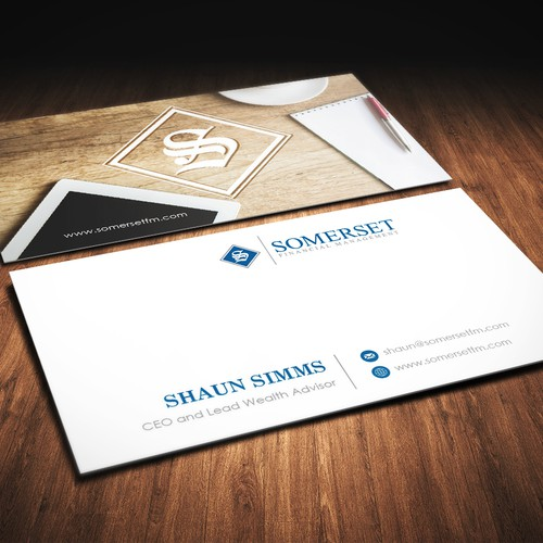 We need warm yet professional business cards for our new wealth advisory firm.