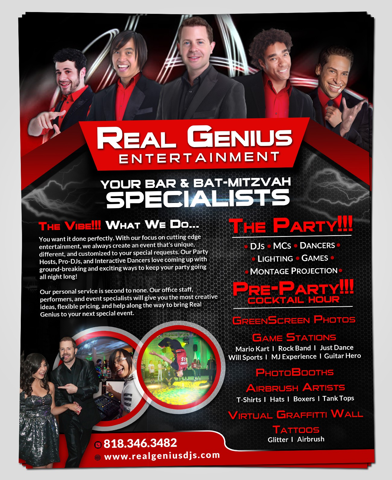 Real Genius DJs needs NEW FUN CREATIVE remix of an old flyer into a NEW AMAZING ONE!