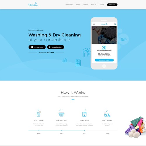 Landing Page for Washing & Dry Cleaning