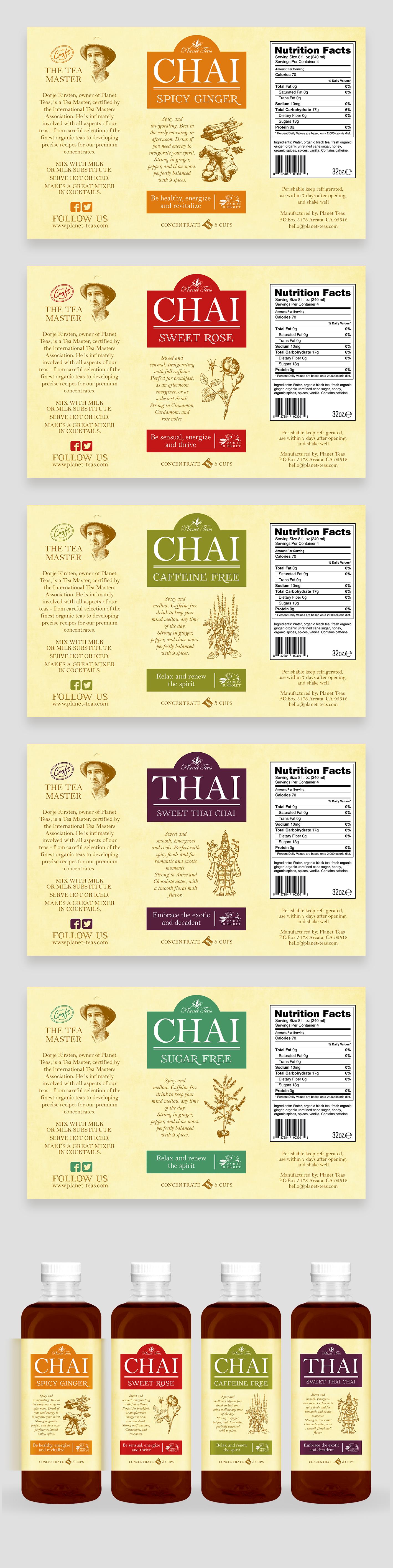 design a rebrand of quart bottle labels for Planet Teas premium craft chai concentrates