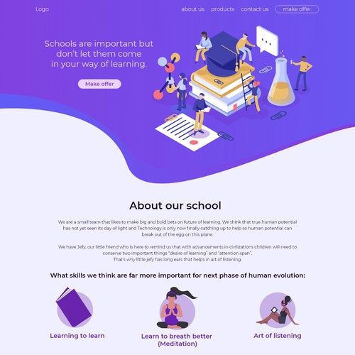 Landing Page For School