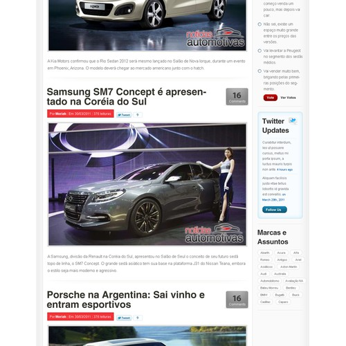 Wordpress theme for the biggest car blog of Brazil