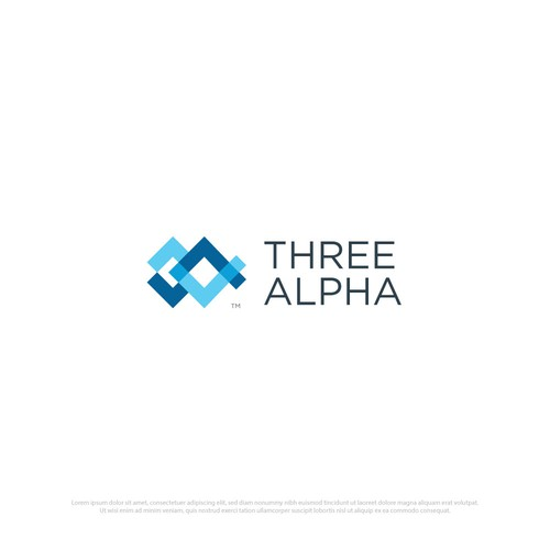Simple modern logo Three Alpha