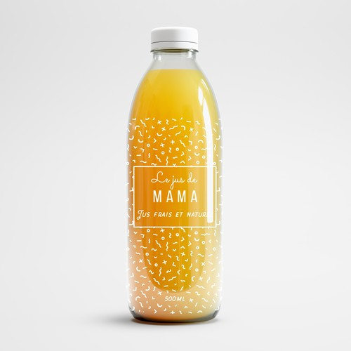 Minimal label design for juice bottle