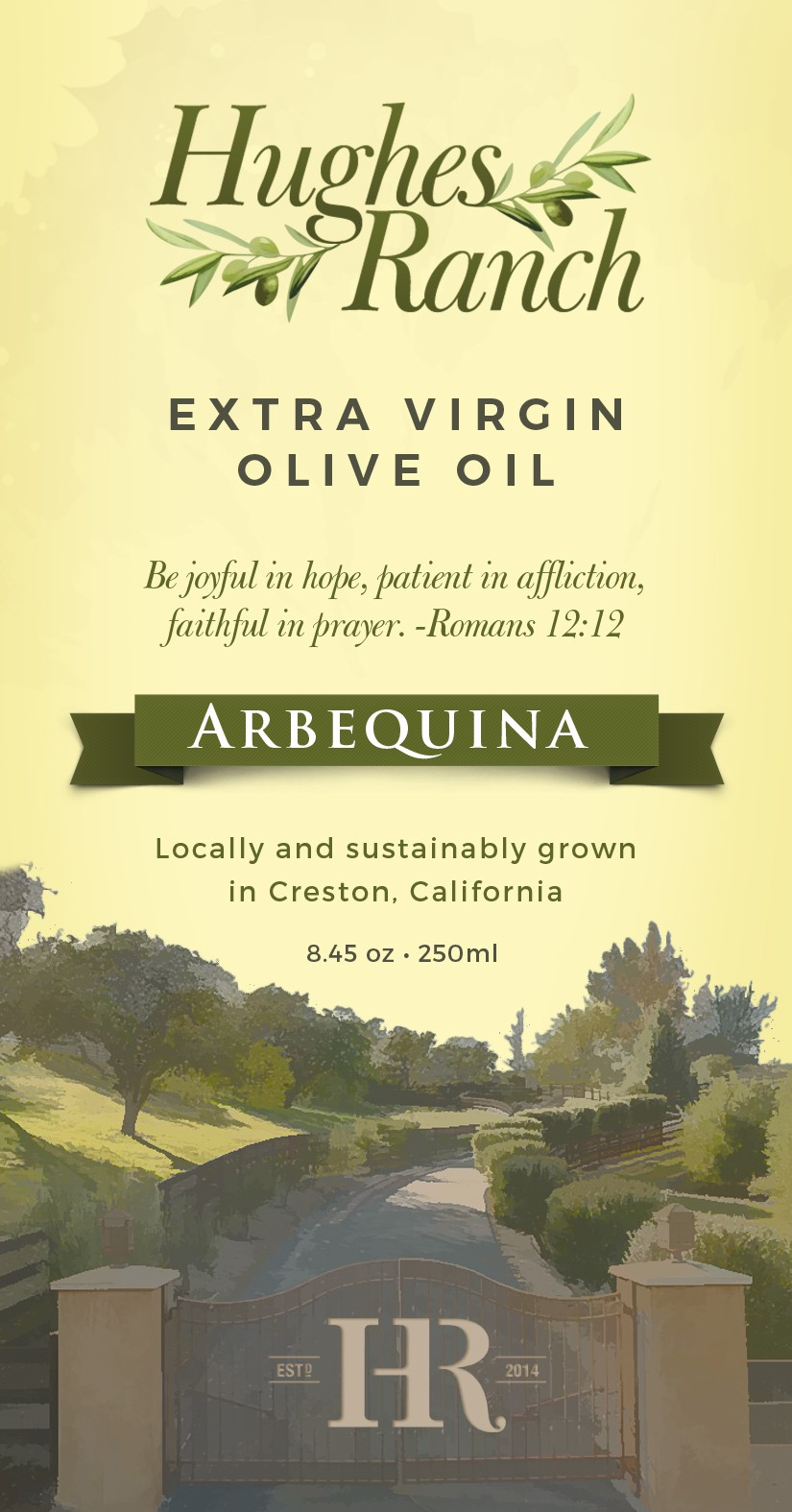 """California Ranch needs olive oil label  """"We're sustainable and delicious!"""""""