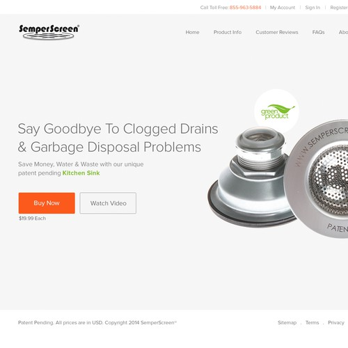 Create a clean, captivating ecommerce site for a revolutionary, new plumbing product.