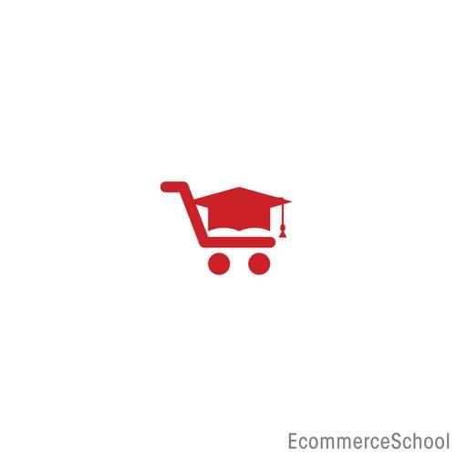 Graduation Hat & Shopping Cart Logo Icon