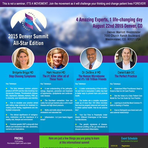 Create a cutting edge medical conference invite.  Lots of info with little space!