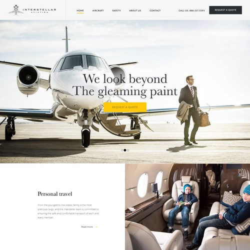 Web design for a Celebrity Private Jet Company