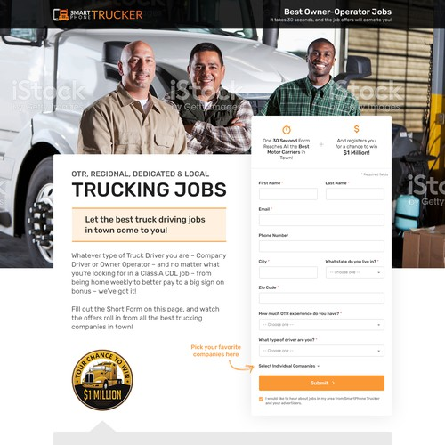 Landing page design for a trucking website