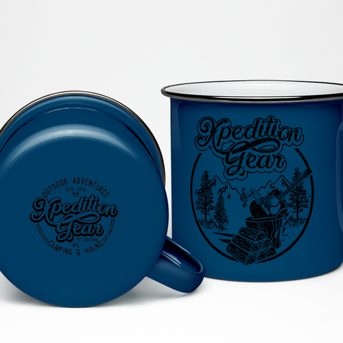 Design a vintage enamel mug for a premium camping/hiking company!