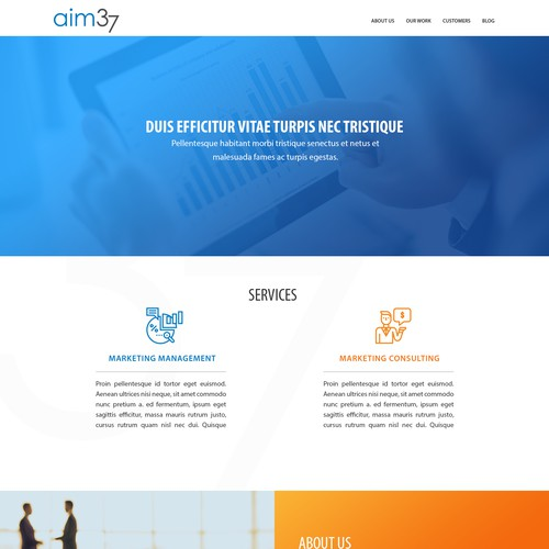 landing page design for AIM37