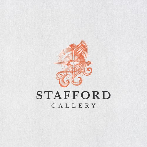 Phoenix and compass design for Stafford Gallery