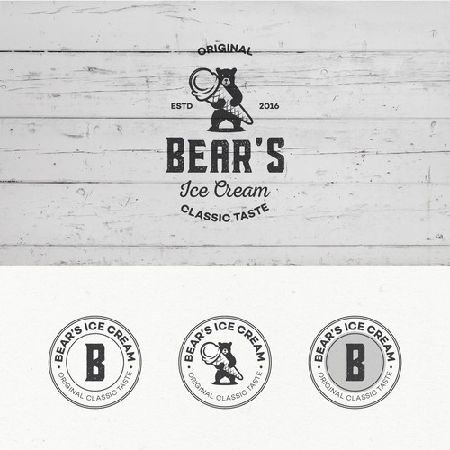 Logo design for Bear's Ice Cream.