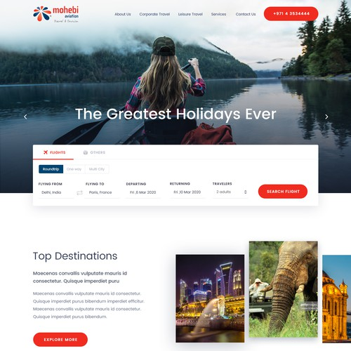 Interactive website design for a Travel Agency