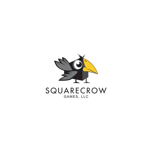 Square crow logo for a startup
