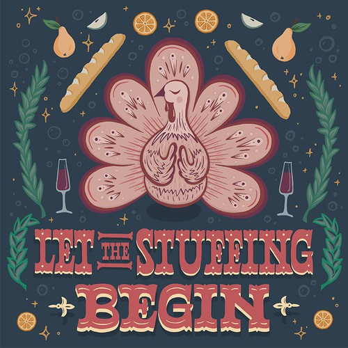 Fun Thanksgiving designs - lettering and illustration