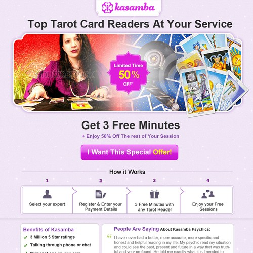 Create another winning landing page for a psychic website