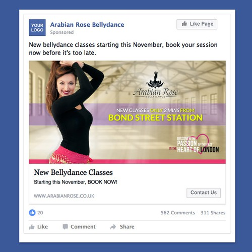 Facebook News Feed Advert for Bellydance Stduio London